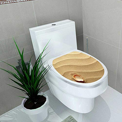 Auraise-home Toilet Seat Sticker Seashells Little Seashell on Golden Sand Spiritual Sea Animal Coastal Theme Beachy Waterproof Decorative Toilet Cover Stickers W14 x L14 (Gucci Sand)