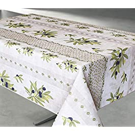 TableCloth Provence Nappe Anti Taches 100% Polyester Infroissable Montelimar Beige Format Rectangle 200X145