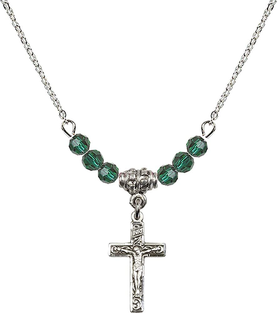 Bonyak Jewelry 18 Inch Rhodium Plated Necklace w// 4mm Green May Birth Month Stone Beads and Crucifix