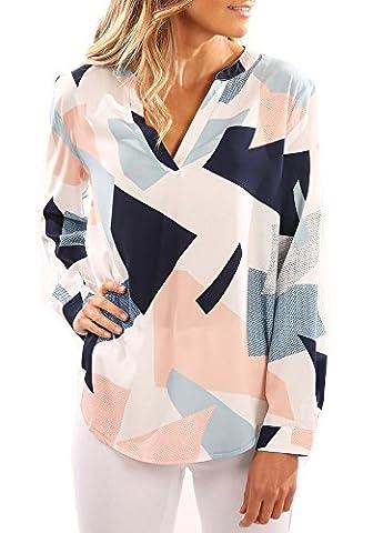 YOMISOY Women Summer Floral Print Long Sleeve Chiffon Shirt Blouse Tops Shirt,Pink,Medium - Pink Floral Shirt