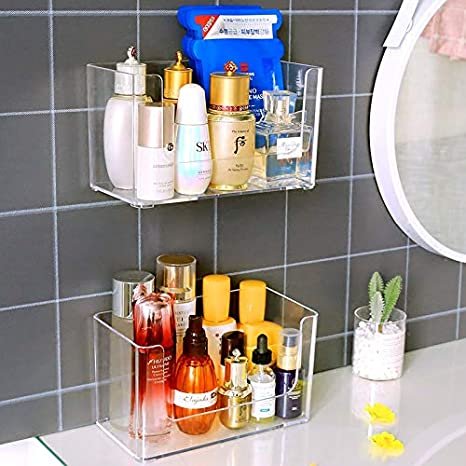 Amazon Com Sooyee 2 Pack Shower Caddies No Drilling Wall Mounted Bathroom Corner Shelf Organizer With Hooks Suction Kitchen Storage Stackable Makeup Organizer Stand On Countertop Clear Home Kitchen