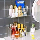 Sooyee 2 Pack Adhesive Bathroom Shelf Organizer Wall Mounted Display Floating Acrylic Kitchen Storage Rack,Stackable…