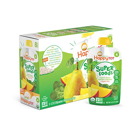 Price comparison product image Happy Tot Organic Stage 4 Super Foods, Pears, Mangos and Spinach + Super Chia, 4.22 Ounce (Pack of 16)