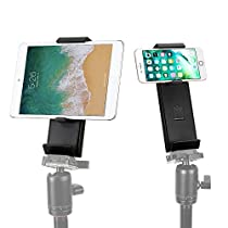 Cell Phone Tripod Adapter, Moreslan Anti-Slip Tablet Clip Mount Vertical Bracket Smartphone Holder for 3.5-13 Inch Cellphones, iPad Pro/Air/Mini Use on Tripod, Monopod, Selfie Sticks