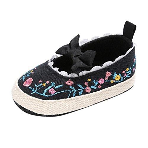 Babyschuhe Longra Baby Säuglingskind Mädchen weiche Blumenbogen Stoff Spitze Schuhe Kleinkind Neugeborene Krippeschuhe (0 ~ 18 Monate) Black