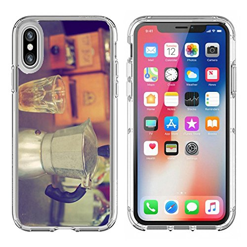 Luxlady Apple iPhone X Clear case Soft TPU Rubber Silicone Bumper Snap Cases iPhoneX IMAGE ID: 34010862 coffee maker espresso machine on the table wood vintage color