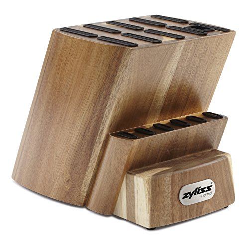 Wooden Knife Block Holder (ZYLISS Control Wooden Knife Block -  Kitchen Cutlery Storage - Knife Block Without Knives - 16 Slots With Steak Holders)