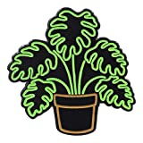 Real Sic Neon Monstera - Glow-in-The-Dark Plant Enamel Pin - Metal Lapel Pin for Backpacks, Jackets, Bags, Hats & Tops - Unisex Gift