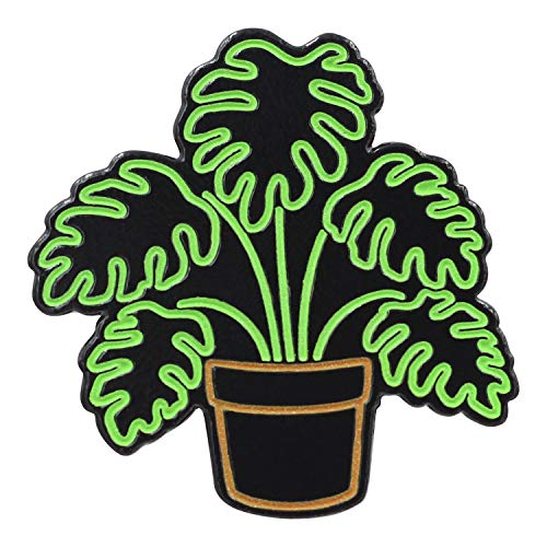 Real Sic Neon Monstera - Glow-in-The-Dark Plant Enamel Pin - Metal Lapel Pin Backpacks, Jackets, Bags, Hats & Tops - Unisex Gift