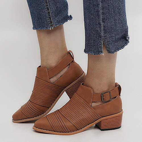 Talon Tendance Boucle Pure Simples Go Boots De Bottes Microwaveable Couleur Carré Chaussures Orteil Brun Chaussons ponited Sangle Securite❤️cozy Bottine PqZnIxHw