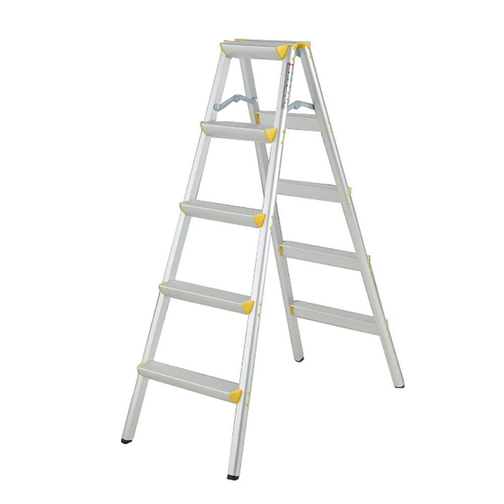 踏み台 折りたたみステップスツール、220-330lbs容量の大人5ステップ梯子、滑り止めフットパッド付きキッチン/オフィスワイドペダル防錆ラダー B07MNXZH29