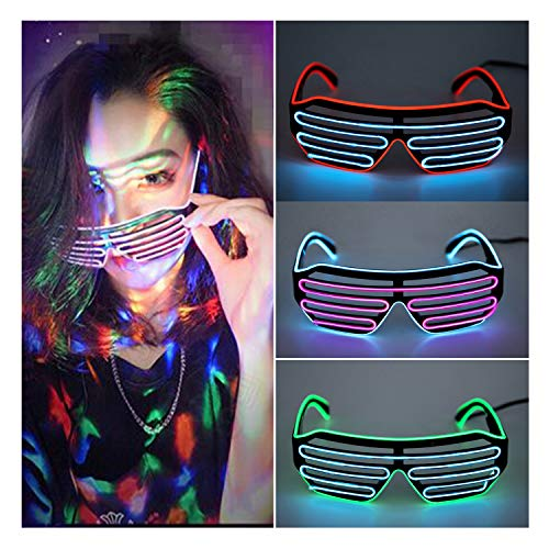 FUT_Forever Shutter Neon Party Glasses by Sound Reactive Rave Glasses Kids Adults Carnival Halloween Disco Bar DJ -