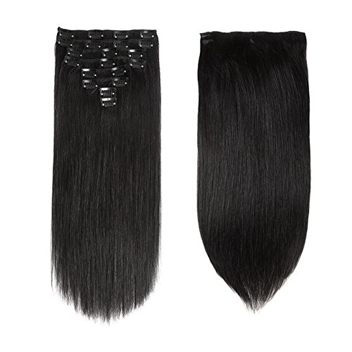 Lovbite 22 Inch Human Hair Clip In Hair Extensions Double Weft Better Length Clip Ins Grade 8A Straight Human Hair Clip on Extensions 120Grams 8Pieces/Lot 20Clips (22
