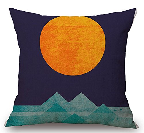 Designer Cushion Cover (Cotton Linen Square Decorative Throw Pillow Case Cushion Cover Colorful abstract geometric composition Triangle Mountain and Sun 18