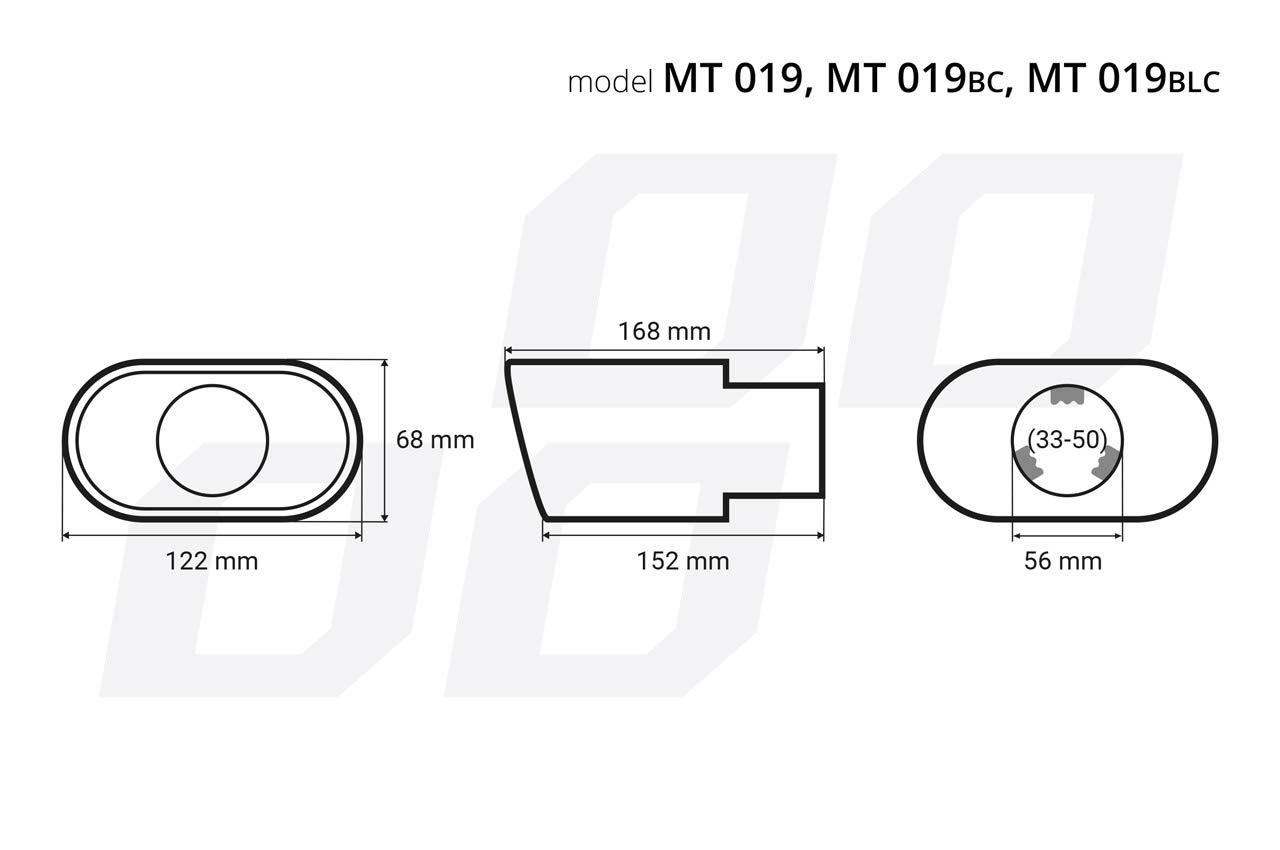Auspuffblende Endrohr Endst/ück Auspuffendrohr Edelstahl OVAL DARK CHROM Anschluss bis 50mm l MT19BC