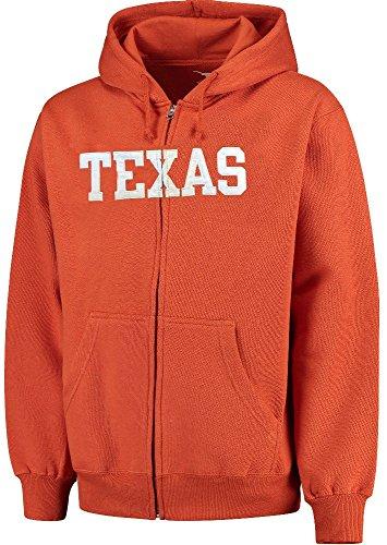 (Texas Longhorns Mens Orange Block Full Zip Applique Hoodie Sweatshirt by 289c (Large))