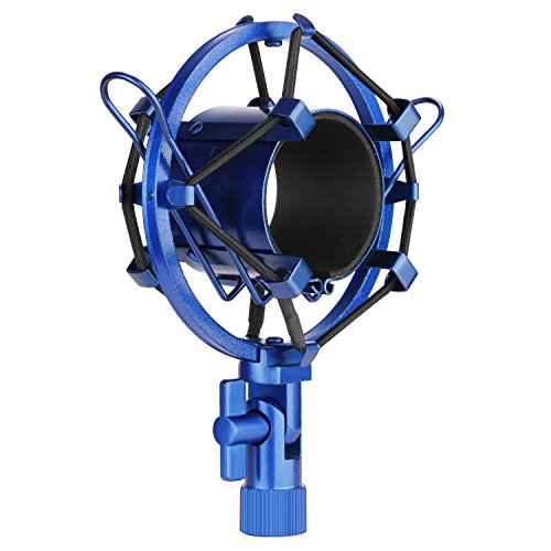 (Neewer Microphone Shock Mount Holder Clip Anti Vibration Suspension High Isolation for Studio Condenser Mic, Ideal for Radio Broadcasting Studio, Voice-over Sound Studio and Recording(Blue))