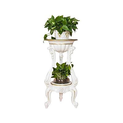 FLYSXP European Indoor Flower Pot Rack Multi-Layer White Resin Plant Floor Living Room Shelf Rack Creative Balcony Flower Flower Stand: Garden & Outdoor