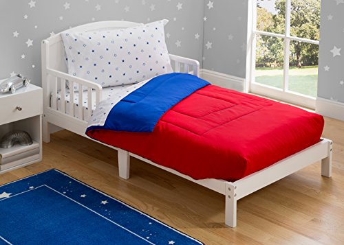 Toddler Bedding Set | Boys 4 Piece Collection | Fitted Sheet, Flat Top Sheet w/Elastic Bottom, Fitted Comforter w/Elastic Bottom, Pillowcase | Delta Children | Boys American | Red White Blue 4