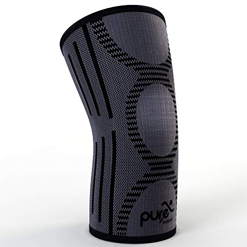 Knee Brace Compression Sleeve Support | Patella Stabilizer for Meniscus Tear | Arthritis Pain for Running | Crossfit | Sports | Women | Man (Black and Gray, Medium)