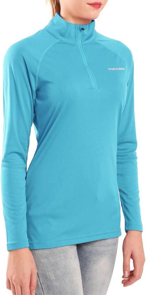 Wandern Langarm Laufshirt Sportshirt 1//4 Zip f/ür Training Sport Ogeenier Damen Langarmshirt UPF 50+ UV Sonnenschutz
