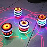 Qiyun Children LED Light-up Music Wood-Like Peg-top Hand Spinner Plastic Flash Gyro Toy Gift for Kids