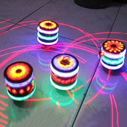 Zehui Flash Gyro Toy Gift for Kids Children LED Light-up Music Wood-Like Peg-top Hand Spinner Plastic