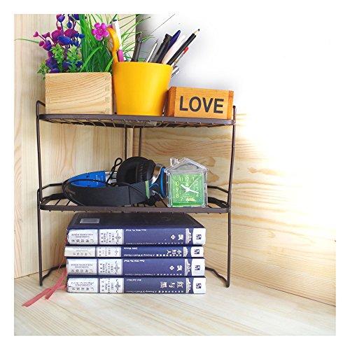 DANXQ Desktop Corner Storage Shelf Stationery Rack Free Combination Shelf Metal Iron Mesh (2 Layer, Black) ()