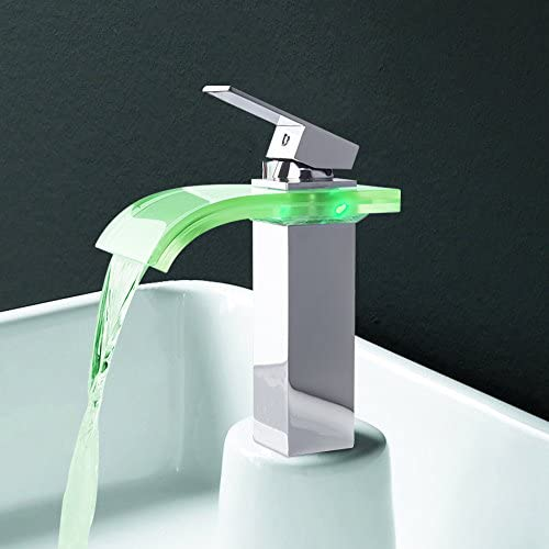 Water Power No Battery LED Color Change Waterfall Faucet Bathroom Single Handle Basin Mixer Tap Chrome 2301
