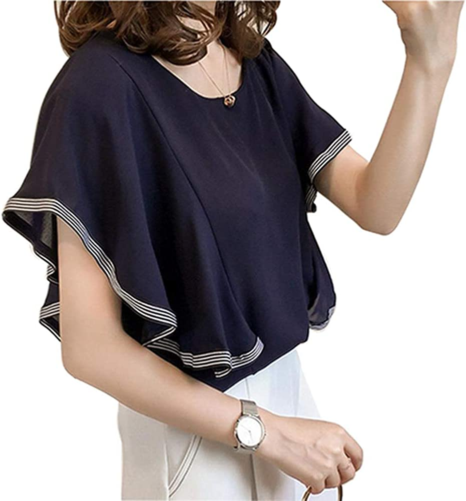 Women Plus Size Solid Color Tops Chiffon Round Neck Short Butterfly Sleeve Shirt