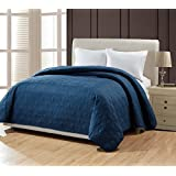 """BOURINA Reversible Bed Quilt Bedspread and Coverlet 90"""" x 90"""" Microfiber Thin Comforter-Full/Queen, Navy"""
