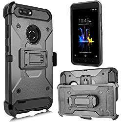 For ZTE BLADE Z MAX/ ZMAX PRO 2/SEQUOIA(Z982) Duo Defense Drop-Proof Heavy Duty Full Body Rugged Holster Armor Combo Case [Belt Swivel Clip & Kickstand] (Black)