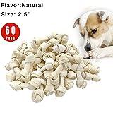 "FreedomDesign Rawhide Knot Bones Dog Bulk Treats Chews Natural Rawhide Healthy Dog Teeth 2.5"" 60-Count (60pices)"