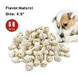 FreedomDesign Rawhide Knot Bones Dog Bulk Treats Chews Natural Rawhide Healthy Dog Teeth 2.5'' 60-Count (60pices)