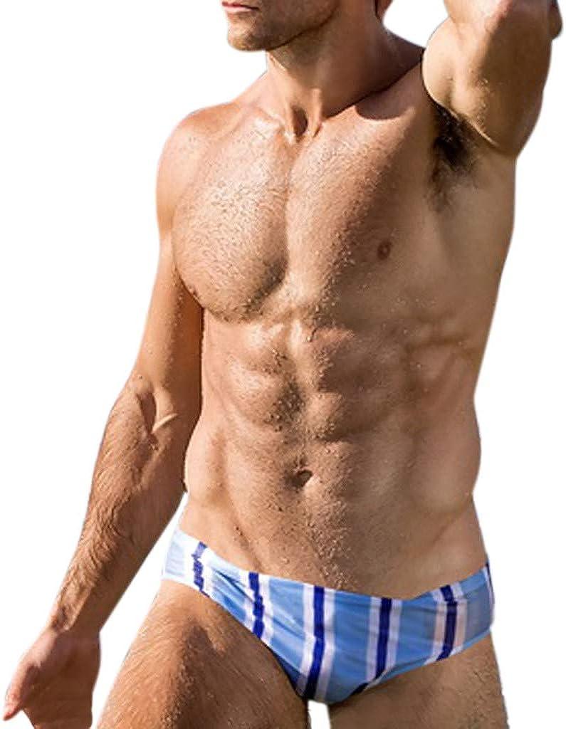 Palarn Sports Pants Casual Cargo Shorts Fashion Men Breathable Trunks Pants Beach Stripe Running Swimming Underwear Light Blue