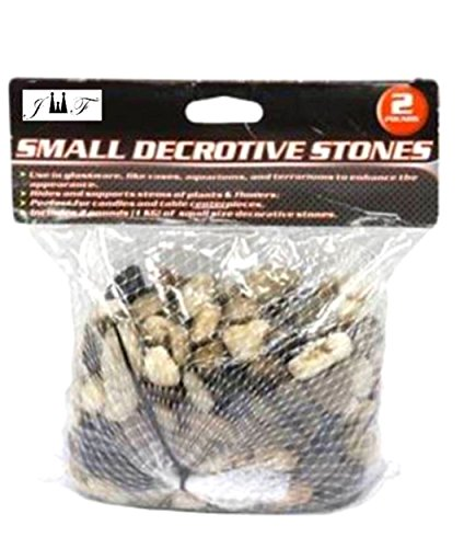 JEWELS FASHION 2 Pounds Decorative River Rock Stones - Natural Polished Mixed Color Stones Used For Pebbles, Outdoor Decorative Stones, Natural Gravel, Vase Fillers, Glassware,Cactus Pot (SMALL)
