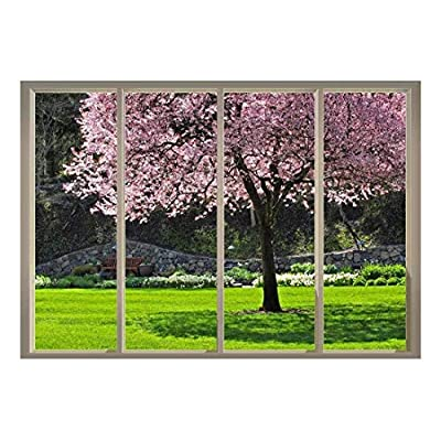 Incredible Craft, Pink Cherry Blossom Tree on a Japanese Garden with a Bench at The Far End Viewed from Sliding Door Creative Wall Mural Peel and Stick Wallpaper, Created By a Professional Artist