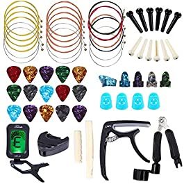 60 PCS Guitar Tool Changing Accessories Kit Including Guitar Strings, Guitar Picks, Pick Holder, Capo, String Winder…