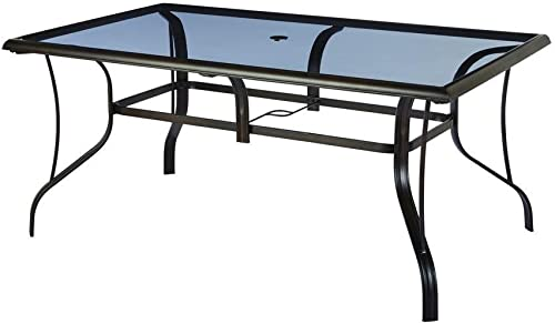 Hampton Bay Statesville Rectangular Glass Patio Dining Table