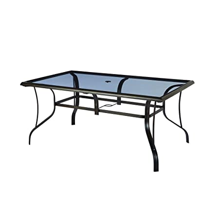 Statesville Rectangular Glass Patio Dining Table - Amazon.com : Statesville Rectangular Glass Patio Dining Table