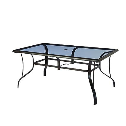 Statesville Rectangular Glass Patio Dining Table