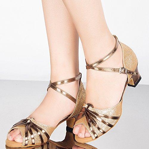 6 Verschleißfestes Gold Damen Leder Standard cm Absatz Schuhe Tanzschuhe Latein Wealsex wX8vqgU8