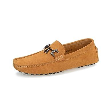 LL De los hombres Respirable Zapatos casuales Antideslizante Hebilla de flecos Zapatos de conducir Acogedor Ligero Resistente al desgaste Mocasines Zapatos ...
