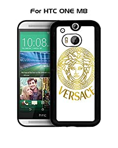 HTC One M8 Funda Case Brand Logo Versace Solid Anti Slip Customized Impact Resistant Ultra Slim Compatible with HTC One M8