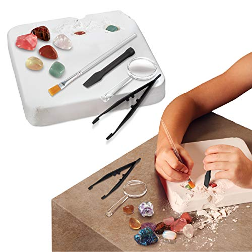 (Discovery MINDBLOWN Gemstone Excavation Kit, Chalk Exploration Block Holds 10 Semi Precious Minerals/Crystals, Tool Set Includes Chisel, Magnifying Glass, & Brush, A Great STEM Gift for Children)