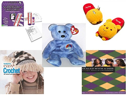 Girl's Gift Bundle - Ages 6-12 [5 Piece] - Scattergories Categories Game: A Fun Twist on The Fast Thinking Original - Disney Store Winnie The Pooh Slippers - Ty Beanie Babies Peace The Bear - Fami