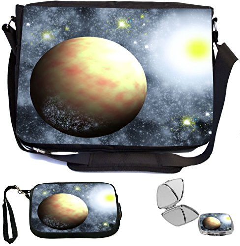 Rikki Knight Plan with Sun Cosmic Celestial Design COMBO Multifunction Messenger Laptop Bag - with padded insert for School or Work - includes Wristlet & Mirror Celestial Blue Design
