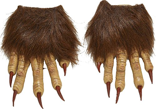 Forum Novelties Men's Werewolf Latex Claw Hands Costume Accessory, Brown, One Size (Wolfman Halloween Costumes)