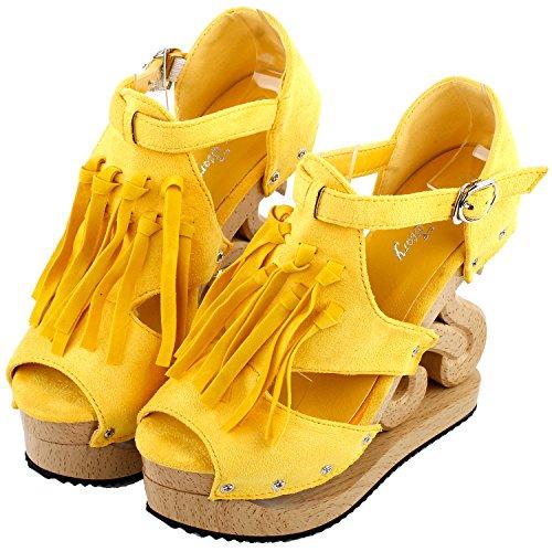 Mostrar historia Franja Occidental borla Look madera cuñas plataforma femenino Zuecos Sandalias, LF30837 Amarillo