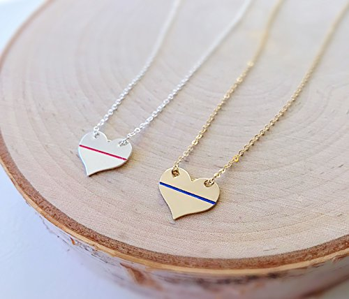 - Thin Blue or Red Line Heart Necklace Police Officer Firefighter Wives Jewelry Law Enforcement Commemorative Valentine's Day Gift for Her by Otis B